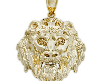 Gold Lion's Head Pendant, 10k Solid Gold, Animal, Charm America, Yellow Gold
