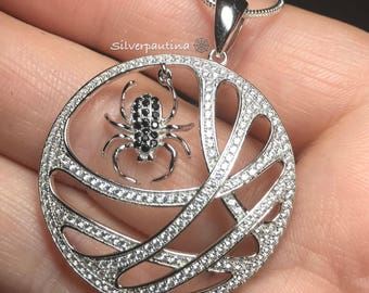 Sterling silver spider in the web pendant and chain