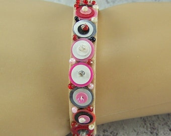 Beaded Cuff Bracelet, Velveteen Cuff Bracelet, Sequin Seed Bead Bracelet, Embroidered Bracelet, Bead Embroidery, Destash Bracelet, Cuff