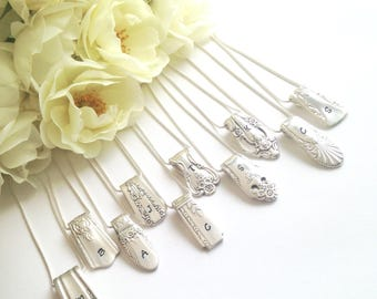 Bridesmaid Initial Necklaces Silverware Jewelry Spoon Ends Necklace Hand Stamped Monogram Bridal Party Gift Wedding Thank You Gifts Spoonerz