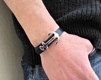 Stainless Steel Anchor Mens Leather Bracelet Cuff, Leather Mens Silver Bracelet Cuff Customized On Your Wrist