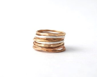 set of 6 hammered  skinny band rings