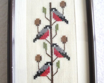 Charming Completed Cross Stitch Birds Matted Metal AMS Frame