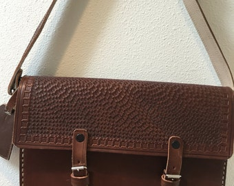 1976 Hand Made / Chocolate Brown Leather / Hand Tooled Sides and Flap / Satchel / Shoulder Case