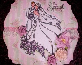 Boxed 6-inch Easel Wedding Card, hand coloured Wedding Card/keepsake