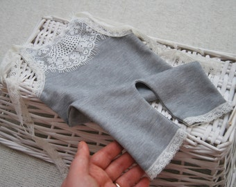 Newborn Romper Prop; Vintage Lace; Gray; Baby Girl Photo Outfit; Baby Girl Prop; Newborn Photo Prop; Photography Prop