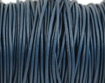 2mm Navy Blue Leather Cord Round