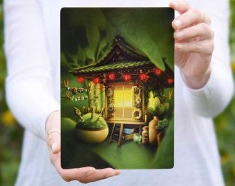Large Fantasy Postcard, Nursery Decor, Home Decor, Invite, A5  - 8.25 x 5.75 inch