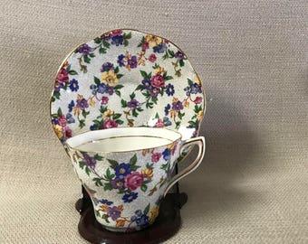 Rosina Vintage English Bone China Tea Cup and Saucer Chintz Pink  Purple Blue Yellow  Flowers