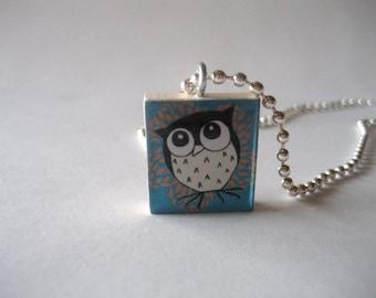 Owl Themed Scrabble Tile Necklace