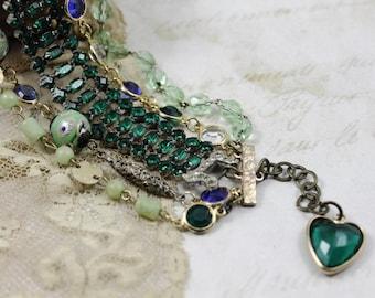 Vintage Assemblage MultiStrand Bracelet, Green and Blue Assemblage Bracelet, Green Bridal Bracelet, Funky Assemblage Bracelet