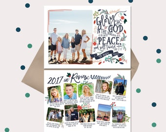 Christian Christmas Cards Year in Review Cards · Vintage Floral Luke 2:14 Bible Verse · red & navy blue flowers