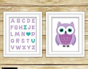 I Love Heart You Alphabet Teal Purple Owl Wall Art Nursery Girl's Room Decor ABC's Printable Set of 2 8x10 Digital JPG Instant Download- 54