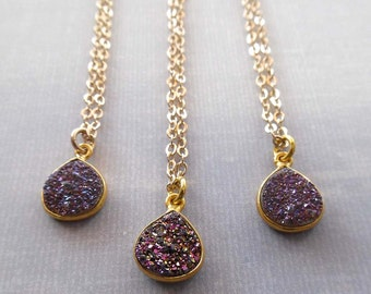 Purple Druzy Necklace / Small Purple Stone Gold / Mystic Purple Bezel Gold  /Purple Druse Drusies Gold / Druzy Gift Bridesmaid / GD14
