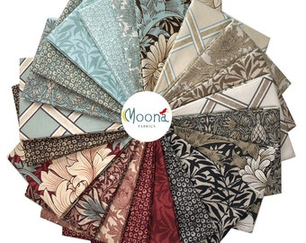 William Morris, The Original Morris and Company, MERTON Fat Quarters, Fabric Bundle, Art Nouveau, Quilt Fabric, Quilting Cotton, 21 FQs