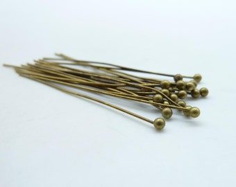 100pcs 30mm Antique Bronze Brass Ball end head pins C5149