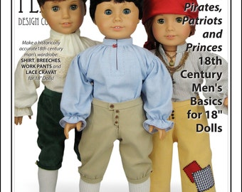 L&P #3052: Pirates, Patriots and Princes 18th Century Men's Basics Pattern for 18 inch dolls — authentic shirt, breeches, pants and cravat