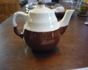 Oxford Stoneware teapot - brown and white - single server 4.5 inches tall Ceramic 1960s Gloss Finish