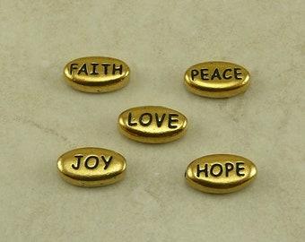 5 TierraCast Word Beads Mix Pack * Love Peace Joy Hope Faith - 22kt Gold Plated LEAD FREE Pewter - I ship Internationally NP