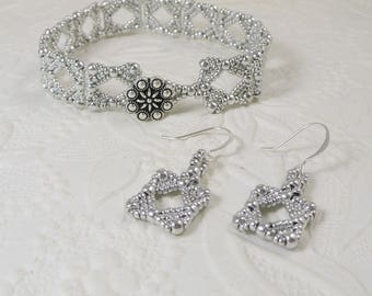 Woven Silver Seed Bead Bracelet and Earrings Set