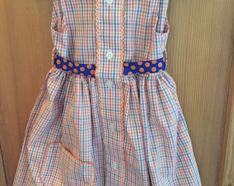 Girl's Dress From Repurposed/Up-cycled Men's Shirt (Brooks Brothers)/Orange Blue Check/Vintage Trim/Size 2T/OOAK