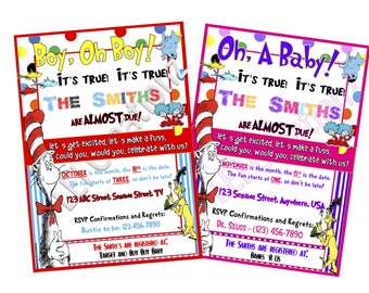 Dr Seuss Baby Shower Invitation, Baby invitation, cat in the hat, party invitation printable, INSPIRED