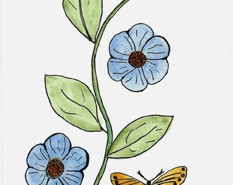 Original Art - Watercolor Pencils and Ink - Simple Minimalist Blue Flowers and Butterfly