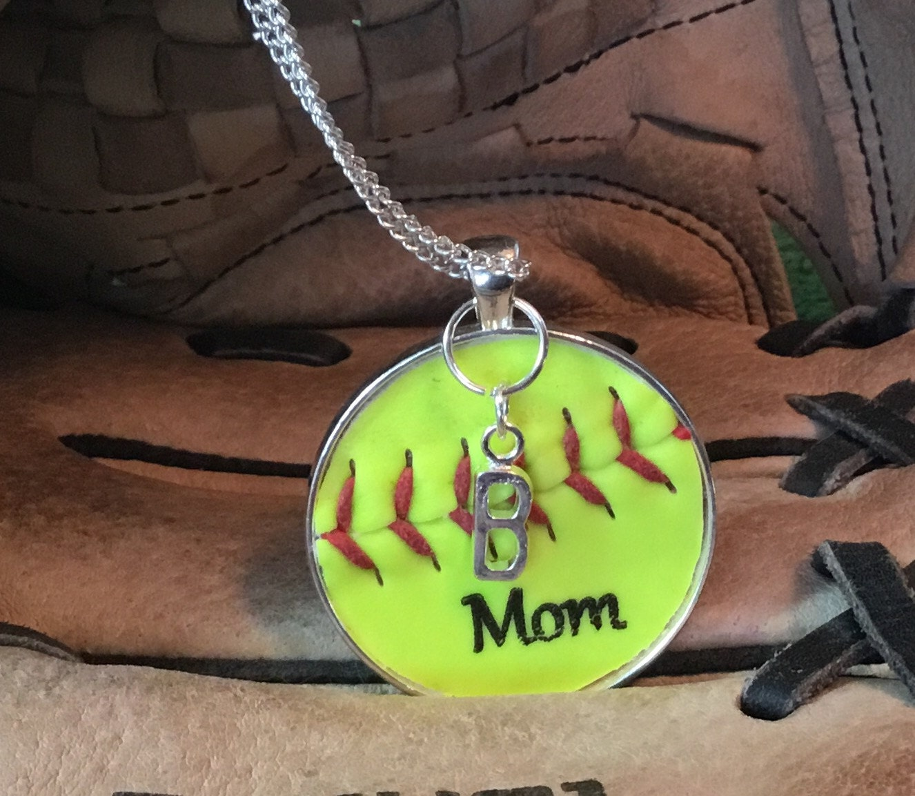 sports necklace jewelry custom softball and charms carat