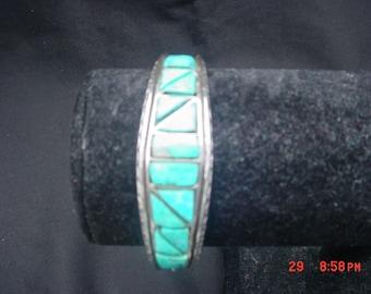 Vintage Sterling Silver & Turquoise Cast Bracelet