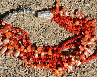 Fresh Water Pearls and Coral Necklace in Sterling Silver