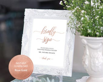 Editable PDF Rose Gold Kindly Sign Well Wishes Calligraphic Wedding Leave your sign Well Wishes Template DIY Printable Kindly Sign #DP140_05