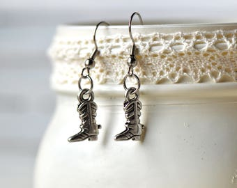 Silver Cowboy Boot Earrings- Cowboy Earrings- Cowboy Jewelry- Country Earrings- Country Jewelry- Affordable Earrings- Gift for Her