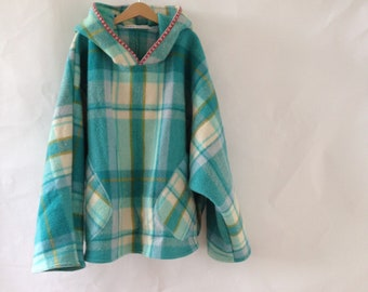 Winter Woollen Hoodie Windcheater with embroidery Womens Clothing in Small Forest turquoise Check Wool shirt tail hem oversized size medium
