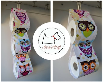 Fabric Toilet Roll Holder/ cream with owls / holds 2 or 3 rolls/ handmade .