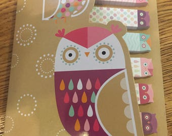 Owl sticky tabs in gold