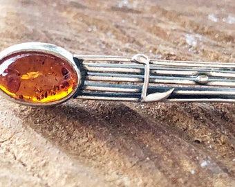 Vintage Amber Musical Staff Sterling Silver Tie Clip