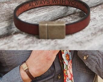 Personalized Groom Gift Groomsmen Gifts For Men Hidden Message Bracelet Custom Engraved Leather Bracelet for Men Wedding Gift Fathers Day