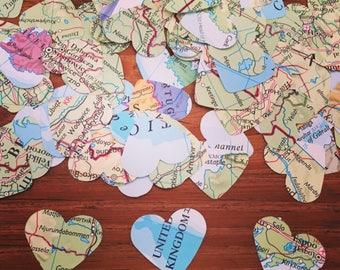 """200 Small 1"""" Map Confetti, Atlas Confetti, Heart Confetti, Table Confetti, Wedding Confetti, Travel Confetti, Travel Wedding"""