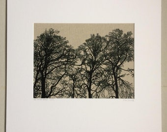 The Dryad Trees: a limited edition silk screen print on natural linen, by Flo Snook