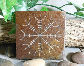 AEGISHJALMUR Art Tile, Helm of Awe, Helm of Terror, Hand Carved Slate Stone, Norse Art Altar Tile, Altar Decor, Art Coaster