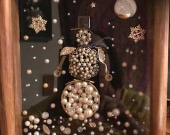 Framed Vintage Jewelry Snowman Art in a shadow box