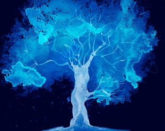 Downloadable images art tree print, Electric blue Tree Print watercolour on black background