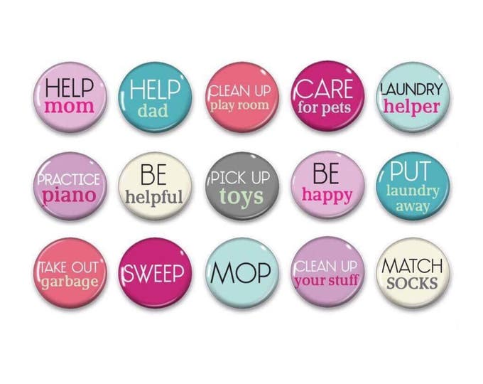 Pink Chore Magnets - Kids Jobs - kids Responsibly - Daily Schedule - Behavior Chart - Family Command Center - Spring Cleaning - Chore Chart