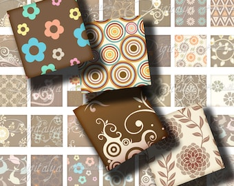 Shades of Brown (3) Digital Collage Sheet with Trendy Blue Dolphins - 56 different Squares 1 inch or smaller - Buy 3 Get 1 Extra Free