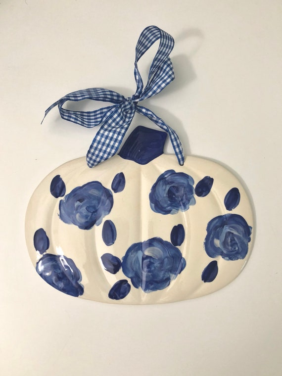 Chinoiserie pumpkin, chinoiserie pumpkin plaque, blue and white pumpkin plaque, gingham pumpkin, ceramic pumpkin