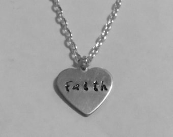 Faith necklace, silver necklace, gifts for her, women jewelry, girls necklace, heart jewelry, hand stamped necklace, children necklace