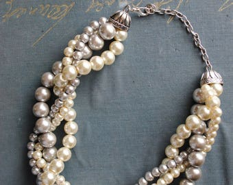 Light Grey and Ivory Chunky Pearl Twist -4 Strand- Pearl Twisted Statement Necklace