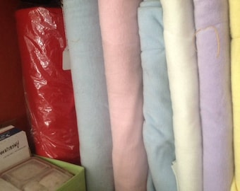 1 yard of Machine washable solid color fleece fabric 58 inches wide - red, fusia and pasteLs: white, lavender, blue, yellow pink