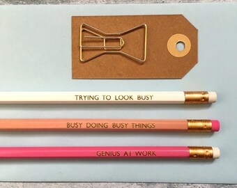 Fun Pencils - Pack of 3 Pencils - Christmas Gift - Secret Santa Gift - Fun Stationery - Pencils - Stocking Filler - Stocking Stuffer