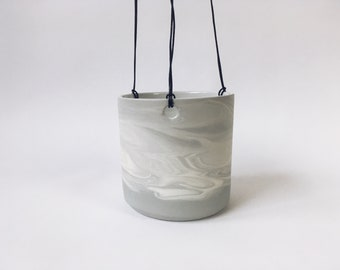 HANGING PLANTER Grey Marbled. Ceramic/pottery flower/plant pot